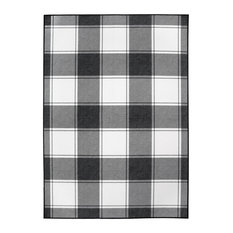 My Magic Carpet Buffalo Plaid Black/White Rug, 5'x7'