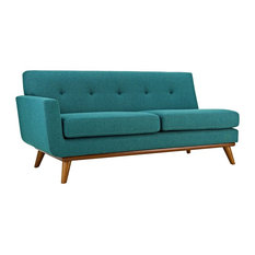 Modern Contemporary Left Hand Arm Loveseat Sofa Aqua Blue