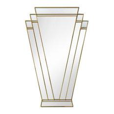 Paris Original Handcrafted Art Deco Fan Wall Mirror, Gold, 73x100 cm