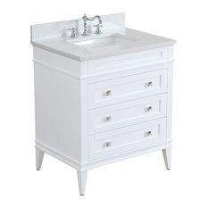 """Eleanor Bathroom Vanity, White, 30"""", Quartz Top"""