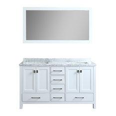 "Bella 60"" White Bathroom Vanity, With Mirror"