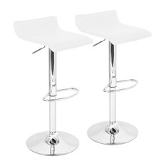 LumiSource Ale Barstool, White With Chrome Footrest, Set Of 2