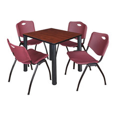Kee 30-inch Square Breakroom Table Cherry/Black And 4 'M' Stack Chairs Burgundy