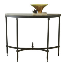 Fluted Iron Half Moon Console Table with Black Granite Top