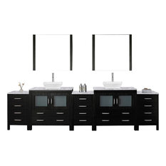 "Dior 118"" Double Bathroom Vanity,Zebra Grey,Marble Top,0 SinkFaucet,Mirrors"