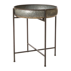 "Glitzhome - 25.79""H Farmhouse Metal Industrial Shelf - Outdoor Side Tables"