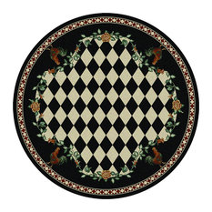High Country Rooster Rug, Black, 8'x8' Round, Round
