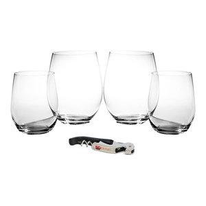 291949ae300 Riedel O Stemless 8 Piece Cabernet Wine Glass Set with BigKitchen Corkscrew