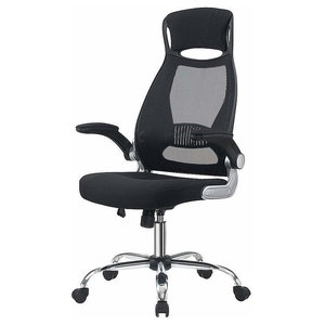 Modern Swivel Chair With Foldable Armrest and Head Support, Adjustable Height