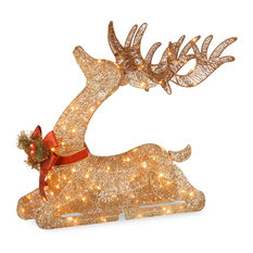 """National Tree Company - 31"""" Pre-Lit Resting Reindeer - Holiday Accents and Figurines"""