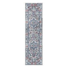 Modern Persian Vintage Medallion Light Grey/Blue 2' x 8' Runner Rug