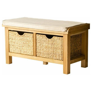 Contemporary Storage Bench, Lightly Lacquered Oak Wood With Baskets and Seat