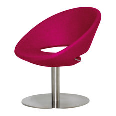 Crescent Round Lounge Chair, Stainless Steel Base, Pink Wool