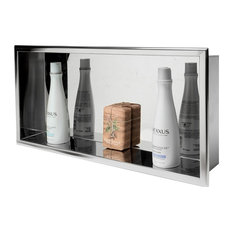 ALFI 24 x 12 Polished Stainless Steel Horizontal Single Shelf Bath Shower Niche