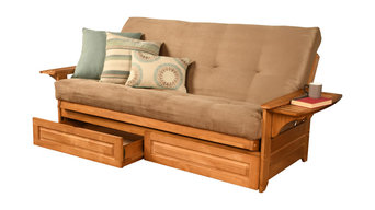 Mesa Frame Futon With Butternut Finish, Storage Drawers, Suede Peat