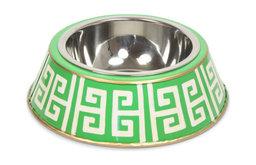 Green Greek Key Dog Bowl