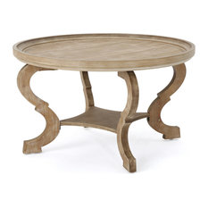 GDF Studio Alteri Finished Faux Wood Circular Coffee Table, Natural