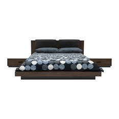 Nova Domus Fantasia Walnut/Dark Gray Bed and Two Nightstands, Eastern King