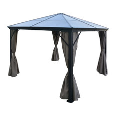 GDF Studio Bali Outdoor 10'x10' Aluminum Framed Gazebo With Curtains, Brown/Blac