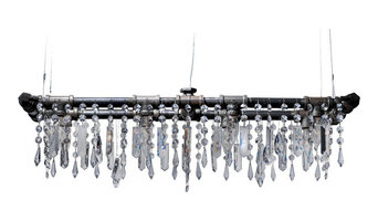 Tribeca Collection 8-Bulb Mini-Banqueting Chandelier, Black Steel