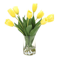 Waterlook® Yellow Dutch Tulips in Clear Glass Cylinder