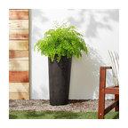 Contempo Tall Round Planter, Dark Charcoal