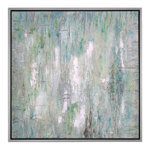 Large Square Green Blue Silver Abstract Painting, Wall Art Light Colorful