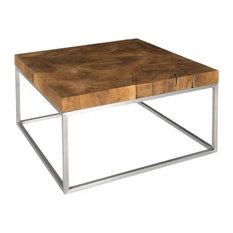 32-inchW Cocktail Table Teak Wood Natural Brown Pattern Coffee Stainless Steel