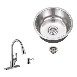 Stainless Steel 18 Gauge Single Bowl Round Bar Sink With Arc Kitchen Faucet Modern Bar Sinks By Magnus