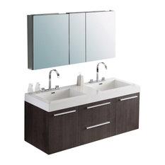 "54.25"" Double Sink Bathroom Vanity, Gray Oak"