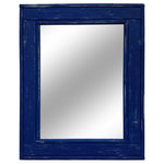 """Renewed Decor - Herringbone Vanity Mirror, True Blue, 24""""x30"""", Vertical - Give any room in your home charm with this handmade reclaimed styled wood mirror. The wood has been given new life sanded and restored. It now it deserves a place to rest holding a mirror for your family and friends to enjoy for years to come. This is our thick bottom version, made to mimic the look of a window with a thicker bottom edge. Each side is 4 inches thick except for the bottom piece which is 5 inches. Our mirrors are built by hand in our wood shop in Warrington, PA."""
