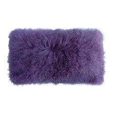 "Tibetan Lambskin 11""x22"" Cushion, Lavender"