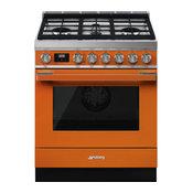 Portofino Pro-Style Gas Range with 4 Gas Burners, 30-Inch, Orange
