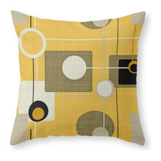 "Orbs and Square Gold Yellow Pillow Cover, 16""x16"" With Insert"
