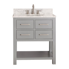 "Avanity Brooks 31"" Vanity With Carrera White Marble Top, Chilled Gray Finish"