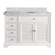 "Savannah 48"" Cottage White Single Vanity w/ 3cm Shadow Gray Quartz Top"
