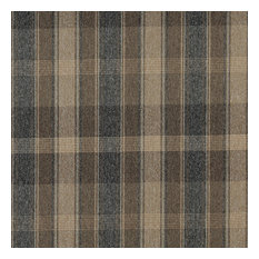 Dark Blue And Beige Large Plaid Country Tweed Upholstery Fabric By The Yard