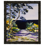 overstockArt - ArtistBe Seaside with Frame, 23.24 x 27.24 - Seaside is a beautiful painting of French landscape by Atelier De Jiel. Enjoy the beauty and color of this painting reproduced as a fine canvas print. Atelier De Jiel is a professional painter from French region Paca. He may be given the title of a conventional painter and often compared to close to the art of children, but this is mistaken. It's his child like approach and soul which he draws his energy, an essential source of his creative energy and universe. His paintings are never a perfect reproduction of reality and his focus is especially on playing with colors and contrast. Atelier's art can be found part of many private collections in France and throughout the world and he also exhibits in France and abroad. Frame Description: Feathered Ebony Frame