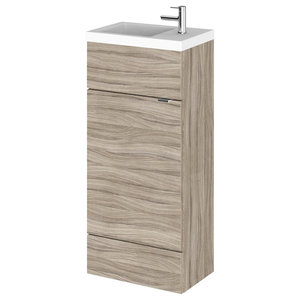 Combinations Contemporary Bathroom Vanity Unit, Driftwood, Compact, 40 cm