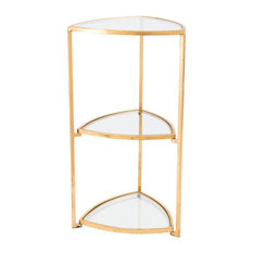 Corner Tri Level Table, Gold