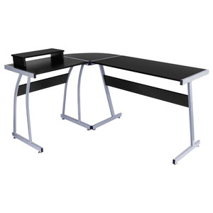 Modern Stylish Desk  With Monitor Stand, L Shaped Design, Steel