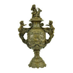 Elegant Bronze Urn Statue Sculpture Cherubs Angels Chariots Horses Classical