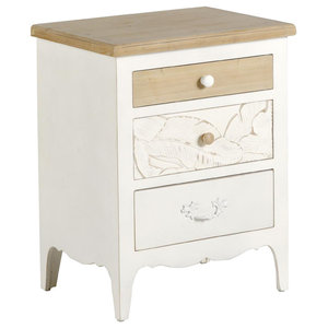 White and Natural Spruce Wood Bedside Table, 3 Drawers