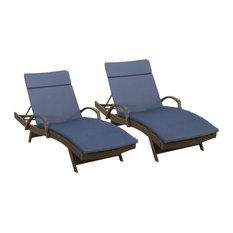 GDF Studio Ann Outdoor Wicker Chaise Lounge, Navy Blue Cushion, Set of 2