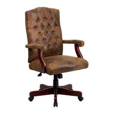 Flash Furniture   Flash Furniture Bomber Brown Classic Executive Swivel Office  Chair   Office Chairs