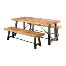 GDF Studio Austin Teak Finish Acacia Wood Dining Set