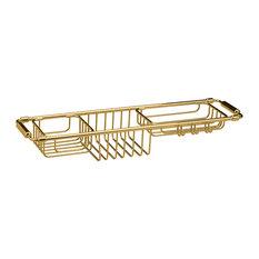 Bathtub Caddy Tray with Extending Sides Tub Tray Holder Rack Bath Storage, Brass