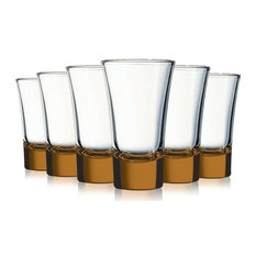 Orange Evase Cordial Glasses with Beautiful Colored Accent, 2 oz. Set of 6