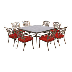 """Traditions 9-Piece Dining Set, Red With 60"""" Square Glass-Top Dining Table"""