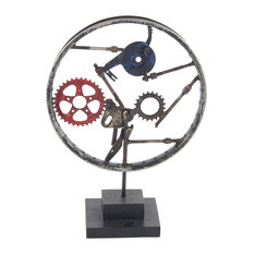 Industrial Circular Framed Iron Clockworks Gear Sculpture With Wooden Base